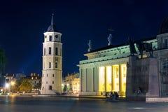 Notte cahtedral a Vilnius fotografia stock