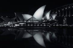 Notte calma a Sydney Opera House Immagini Stock Libere da Diritti