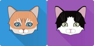 Notte Cat Face Circle Icon Illustrazione piana di vettore di progettazione con ombra lunga Simbolo dell'animale della strega Immagini Stock Libere da Diritti