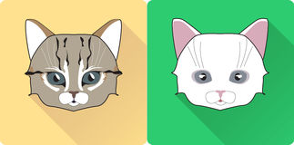 Notte Cat Face Circle Icon Illustrazione piana di vettore di progettazione con ombra lunga Simbolo dell'animale della strega Immagine Stock