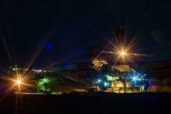 Notte in cava - benna da scavo Fotografia Stock Libera da Diritti