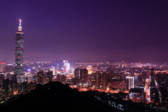 Notte charming di Taipeh, Taiwan Fotografie Stock Libere da Diritti