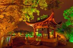 Notte cinese del padiglione Fotografie Stock