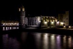 Notte Colliure, Francia del sud Fotografie Stock Libere da Diritti