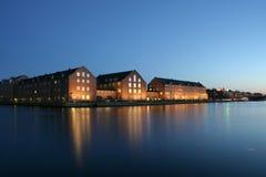 Notte Copenhaghen immagine stock libera da diritti