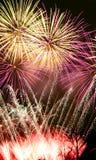 Notte dei fuochi d'artificio Fotografie Stock