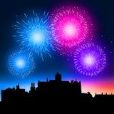 Notte dei fuochi d'artificio Immagini Stock Libere da Diritti