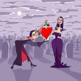 Notte del biglietto di S. Valentino del vampiro Fotografia Stock Libera da Diritti