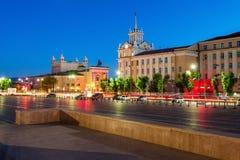 Notte del centro urbano di Ulan-Ude immagini stock libere da diritti