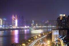 Notte del fiume Chang Jiang Immagini Stock