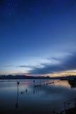 Notte del lago di Costanza Immagini Stock