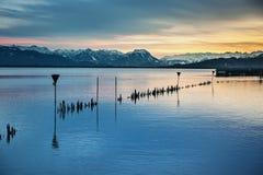 Notte del lago di Costanza Fotografia Stock