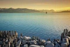 Notte del lago di Costanza Fotografia Stock Libera da Diritti