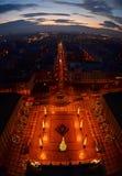 Notte del municipio della repubblica Ceca di Ostrava Fotografia Stock