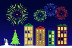 Notte del nuovo anno nella città Immagine Stock