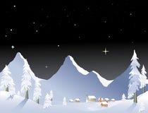 Notte del paesino di montagna illustrazione vettoriale