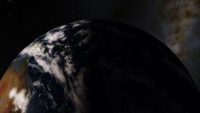 Notte del primo piano al giorno Timelapse visto da sopra pianeta Terra illustrazione vettoriale