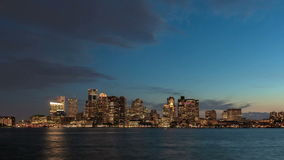 Notte dell'orizzonte di Boston di lasso di tempo video d archivio