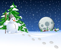 Notte della cartolina di Natale Fotografia Stock
