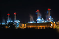 Notte della centrale elettrica Fotografia Stock