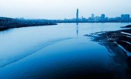 Notte della città con il fiume Immagini Stock Libere da Diritti