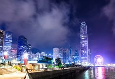 Notte della città di Hong Kong Fotografia Stock Libera da Diritti
