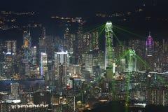 Notte della città di Hong Kong Fotografia Stock