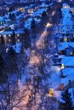 Notte della città di inverno Fotografie Stock Libere da Diritti