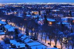 Notte della città di inverno Fotografia Stock