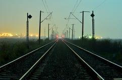 Notte della ferrovia di esposizione Immagini Stock