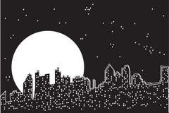 Notte della luna della città. illustrazione di stock