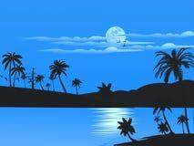 Notte della luna piena Fotografia Stock Libera da Diritti
