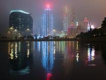 Notte della nebbia alla città Macao Fotografia Stock