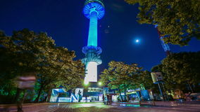 Notte della torre di Seoul della città di Seoul stock footage