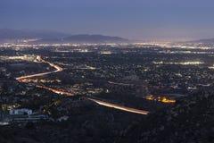 Notte della valle di Los Angeles immagini stock libere da diritti