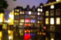 Notte di Amsterdam defocused Fotografie Stock Libere da Diritti