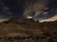 Notte di Bardenas Fotografia Stock