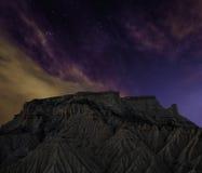 Notte di Bardenas Fotografie Stock Libere da Diritti