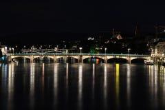 Notte di Basilea, Svizzera Fotografie Stock