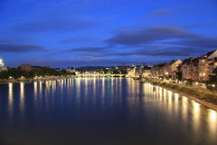 Notte di Basilea, Svizzera Fotografia Stock Libera da Diritti