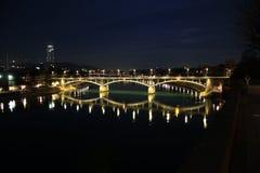 Notte di Basilea, Svizzera Fotografia Stock