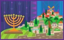 Notte di Chanukah a Gerusalemme Fotografia Stock Libera da Diritti