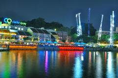 Notte di Clarke Quay a Singapore Fotografia Stock