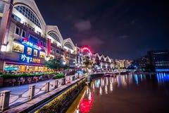 Notte di Clarke Quay Singapore Immagini Stock