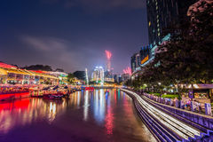 Notte di Clarke Quay Singapore Immagini Stock Libere da Diritti