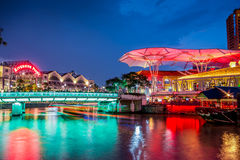 Notte di Clarke Quay Singapore Immagine Stock