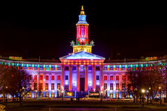 Notte di dicembre a Denver City Hall Fotografia Stock
