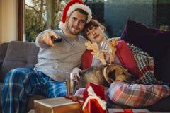 Notte di film di Natale Fotografia Stock