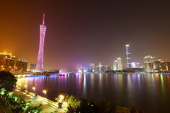 Notte di Guangzhou scenica fotografia stock