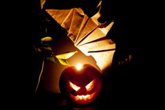 Notte di Halloween fatta dai frutti fotografia stock libera da diritti